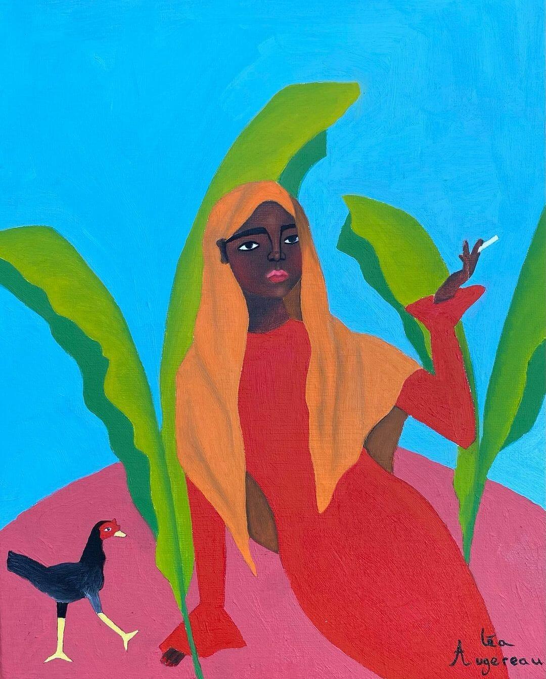 Portrait d'une femme allongée sur un sol rose d'où sortent de grandes feuilles vertes, sur fond bleu. Elle porte un voile orange et une robe rouge