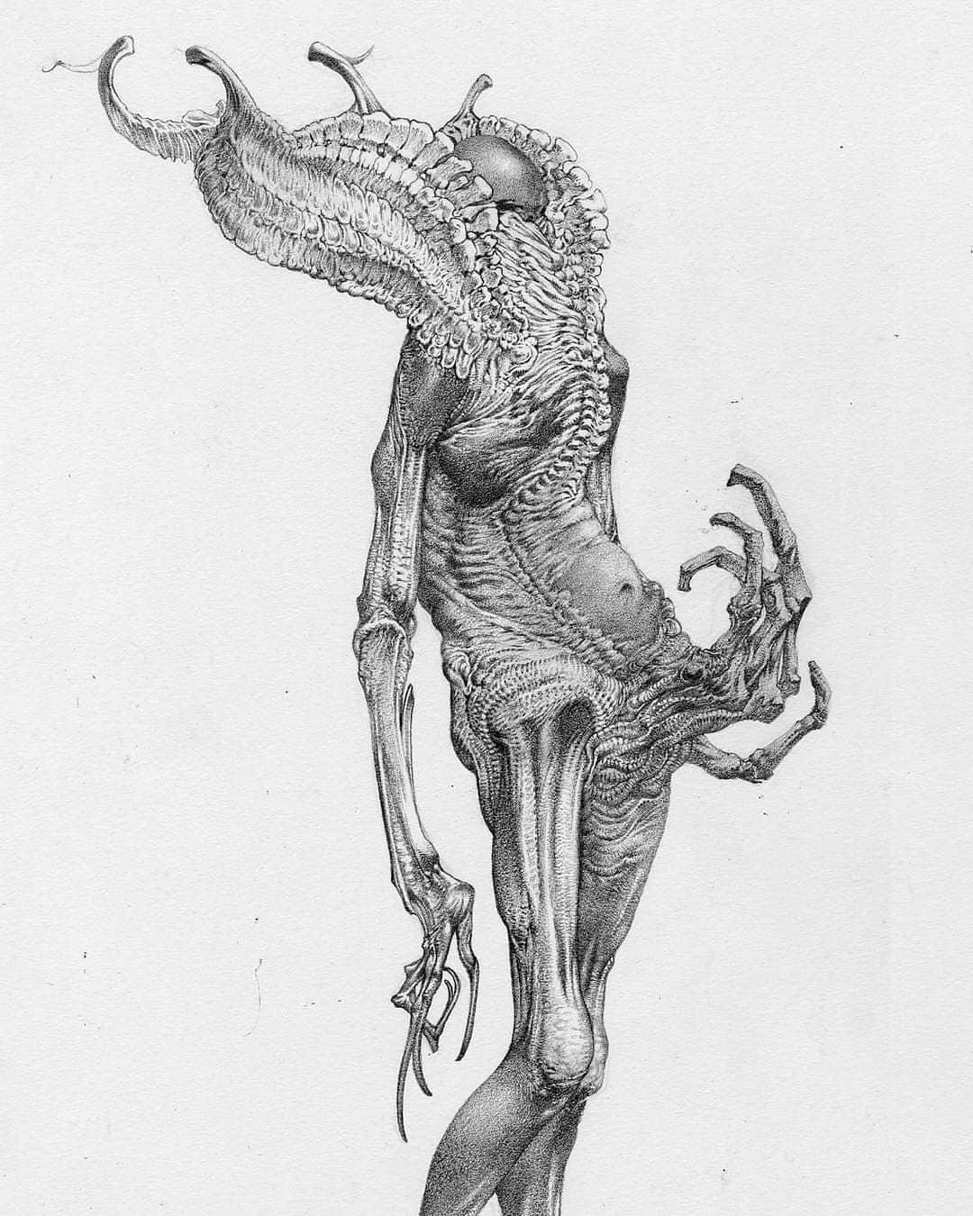 Concept art d'un démon réalisé pour le remake de Hellboy par Allen Williams