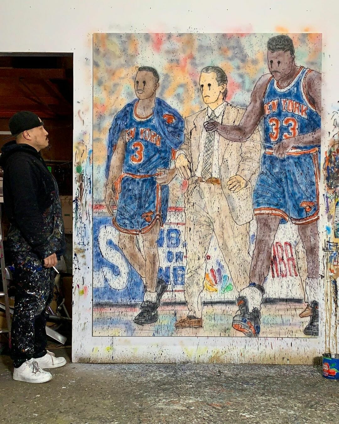 Toile réalisée par MADSAKI et inspirée par l'équipe des New York Knicks des milieu des années 90.