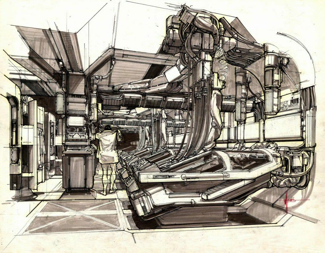 Concept art réalisé pour Aliens : le retour de James Cameron.