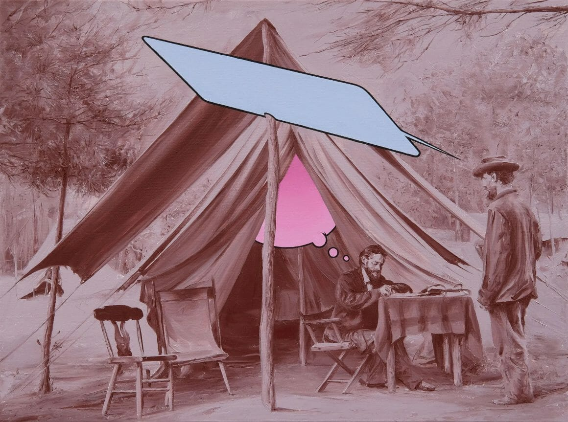 Peinture en sépia d'une tente de réclamation ancienne. Une grande bulle bleue et vide part du personnage réclamant, et une bulle de pensée rose flotte au dessus du personnage notant la réclamation.