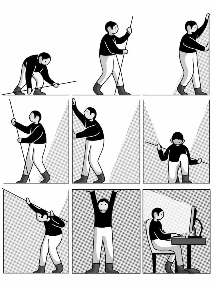 Bande dessinée du graphiste montrant un personnage s'enfermant dans des cases pour être cloitré avec son ordinateur