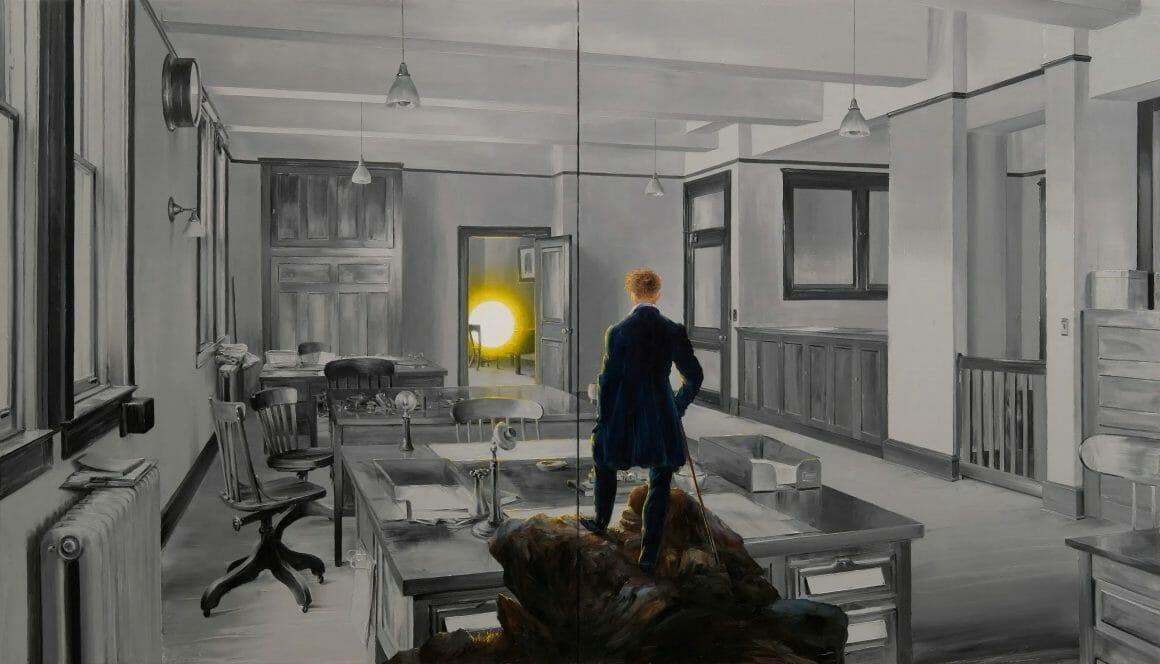 Parodie du tableau 'Le Voyageur contemplant une mer de nuages', qui cette fois fait face à un bureau vide, avec au fond un soleil.