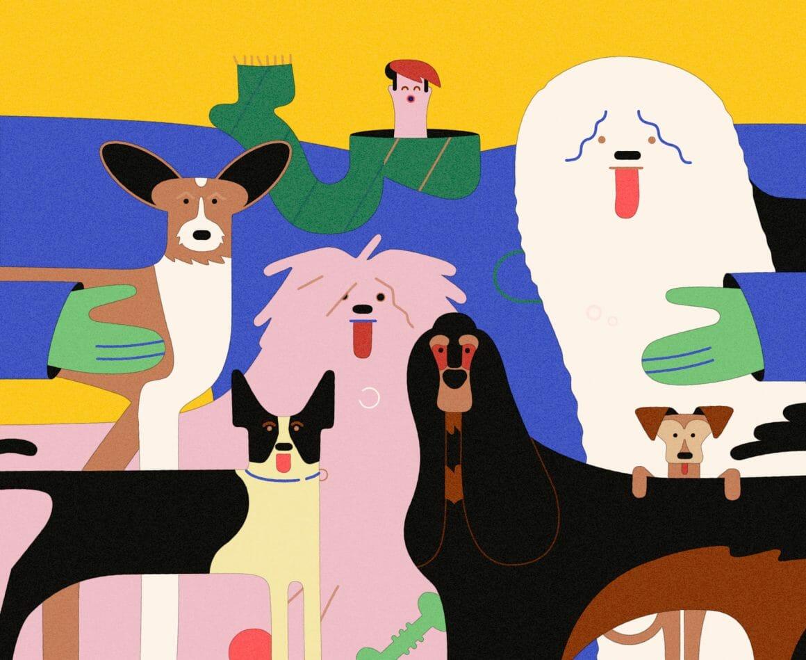 Illustration avec un personnage heureux accompagné de nombreux chiens
