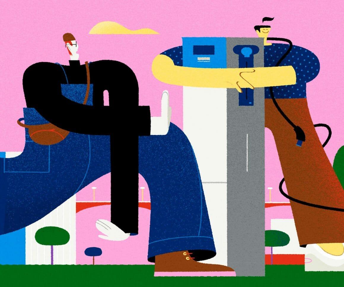 Projet de Leandro Alzate illustrant deux personnages disproportionnés à côté d'un bâtiment