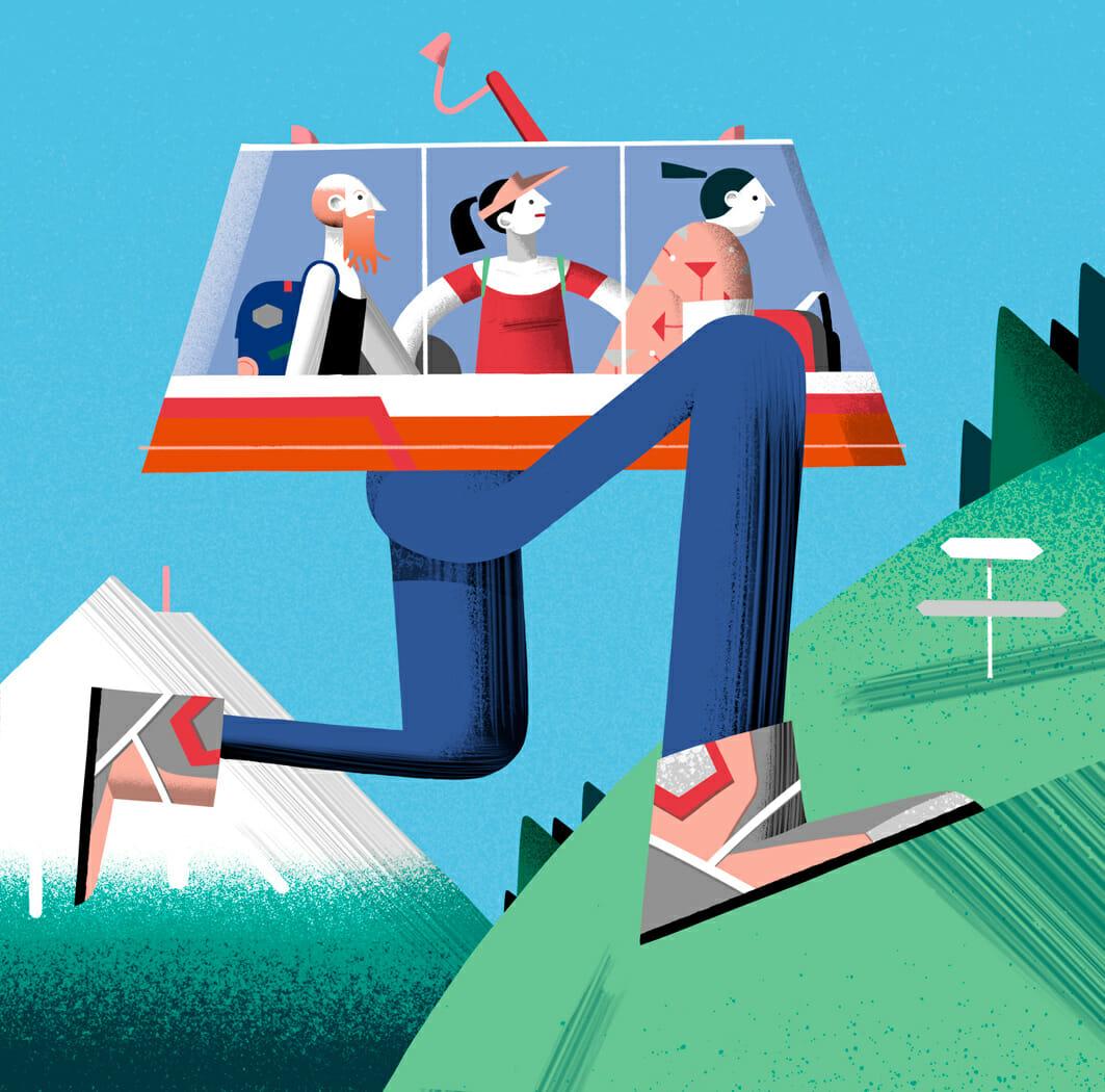 Leandro Alzate a illustré ici plusieurs personnages dans un téléski ayant des jambes