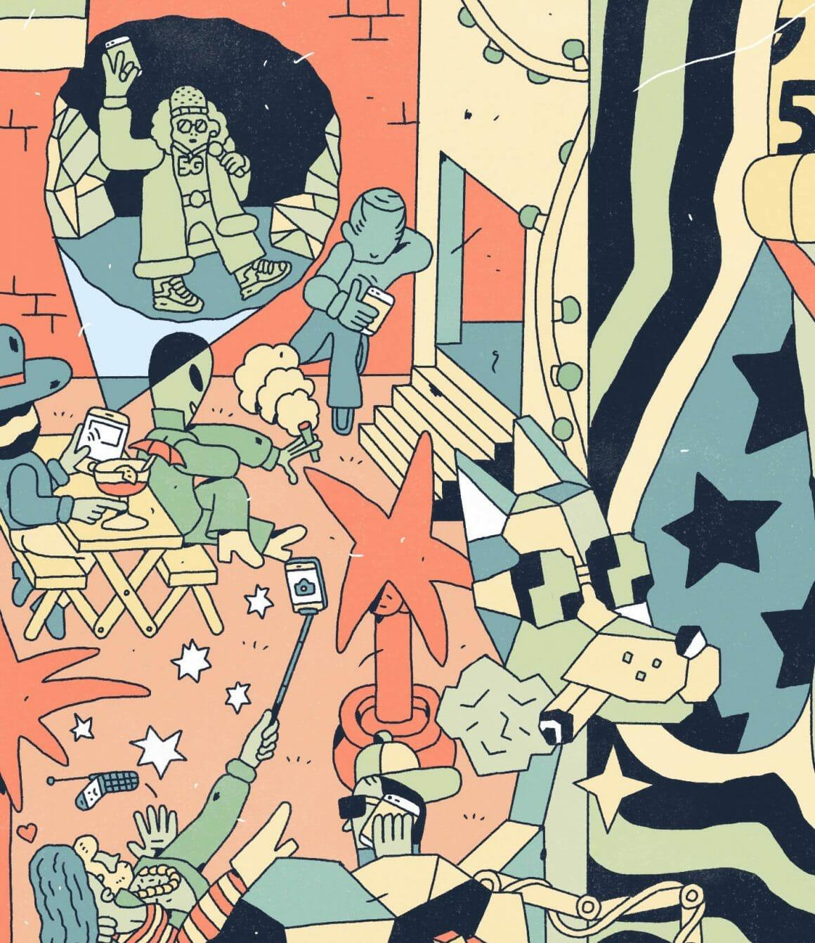 Zoom du dessin interconnecté : plusieurs personnages sont sur leurs smartphones.