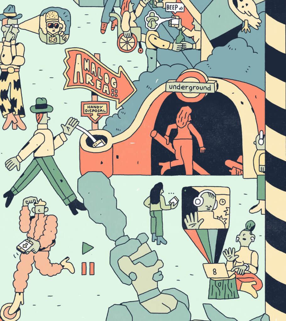 Zoom sur le dessin interconnecté : des personnages sont sur leurs téléphones. Décor d'une bouche de métro.