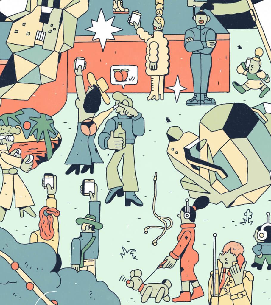 Zoom sur le dessin interconnecté : plusieurs personnages sont sur leurs écrans. Un homme regarde le postérieur d'une femme avec des lunettes connectées.