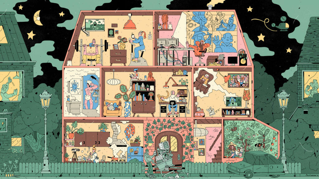 Dessin d'une maison vue de l'intérieur avec pleins de salles et de personnages différents