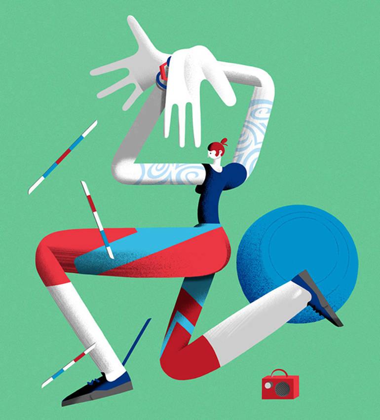 Personnage féminin faisant du sport illustré par l'artiste