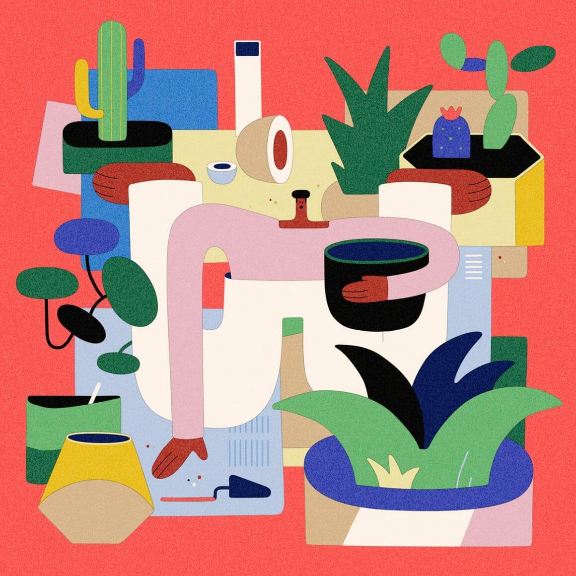Illustration montrant un personnage entouré de plantes