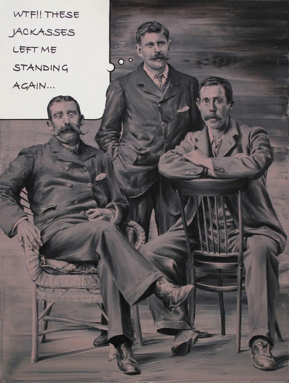 """Portrait de trois hommes. Deux sont assis, et le troisième, debout, semble dire """"WTF!! These jackasses left me standing again..."""""""