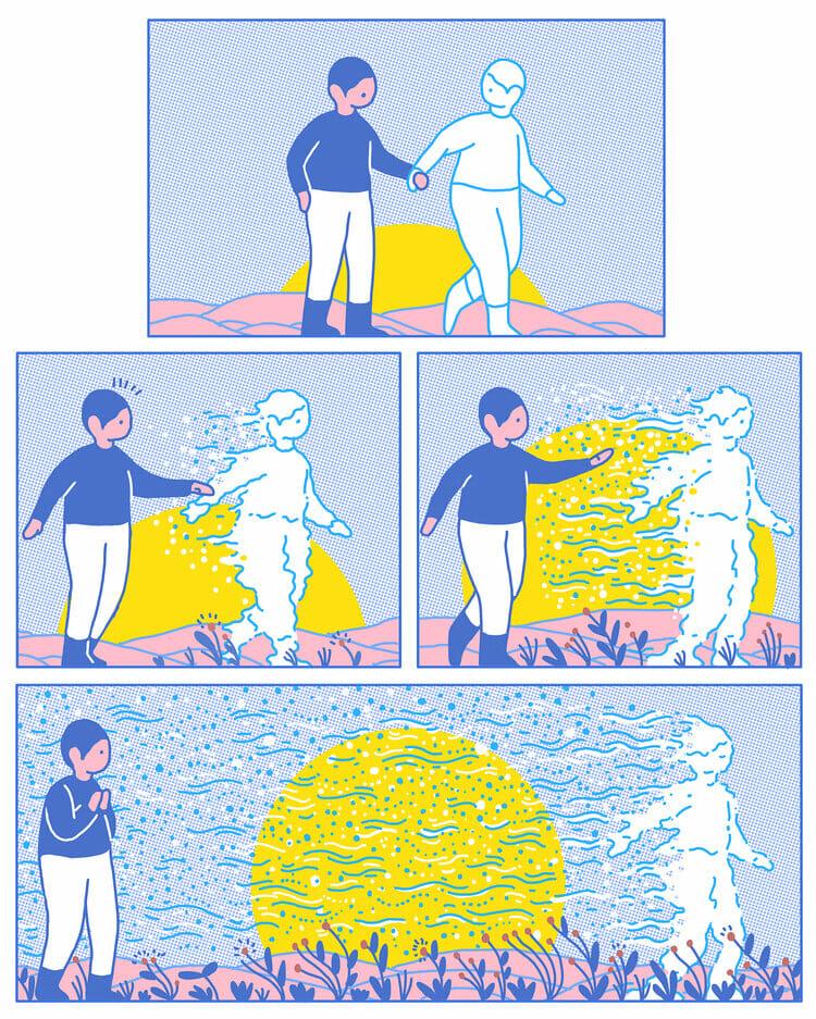 Bande dessinée montrant deux personnages devant un couché de soleil. L'un fini par disparaitre, image par image