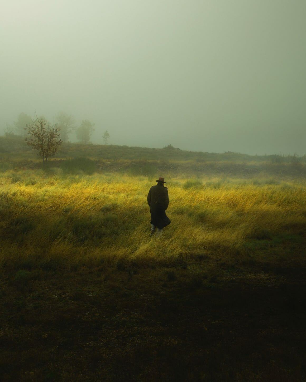 Cette photo de l'artiste Henri Prestes montre un homme de dos avec un chapeau marchant dans un champ