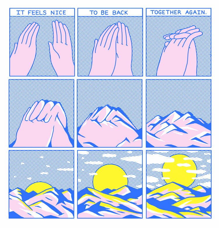Bande dessinée d'Evan M Cohen montrant deux mains jointes qui finissent par se transformer en montagnes puis en paysage de coucher de soleil