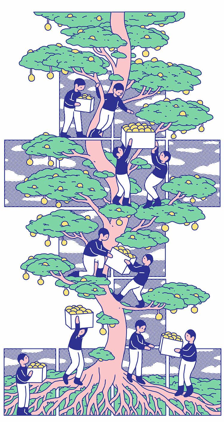Grande illustration de plusieurs personnages récupérant les fruits d'un arbre
