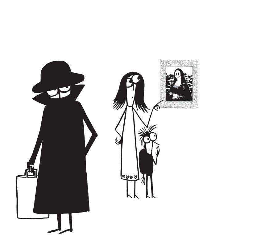 Le personnage de Banksy, caché sous un grand manteau, observe une mère de famille et un enfant ébahi devant une Joconde retravaillée.