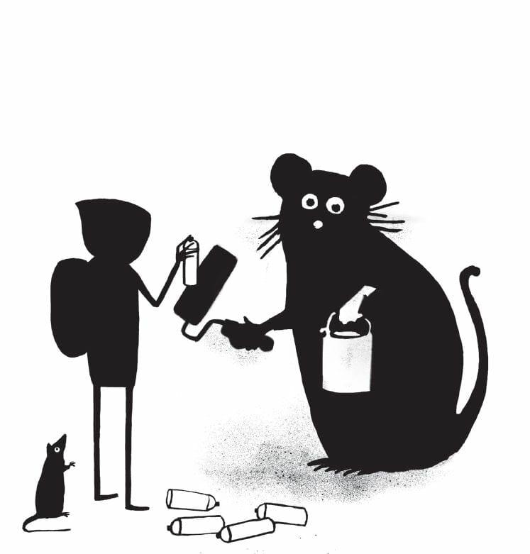 De dos, le personnage de Banksy tague une énorme souris, peinture en main sur un mur. À ses pieds, son rat signature et des bombes de peintures vides.