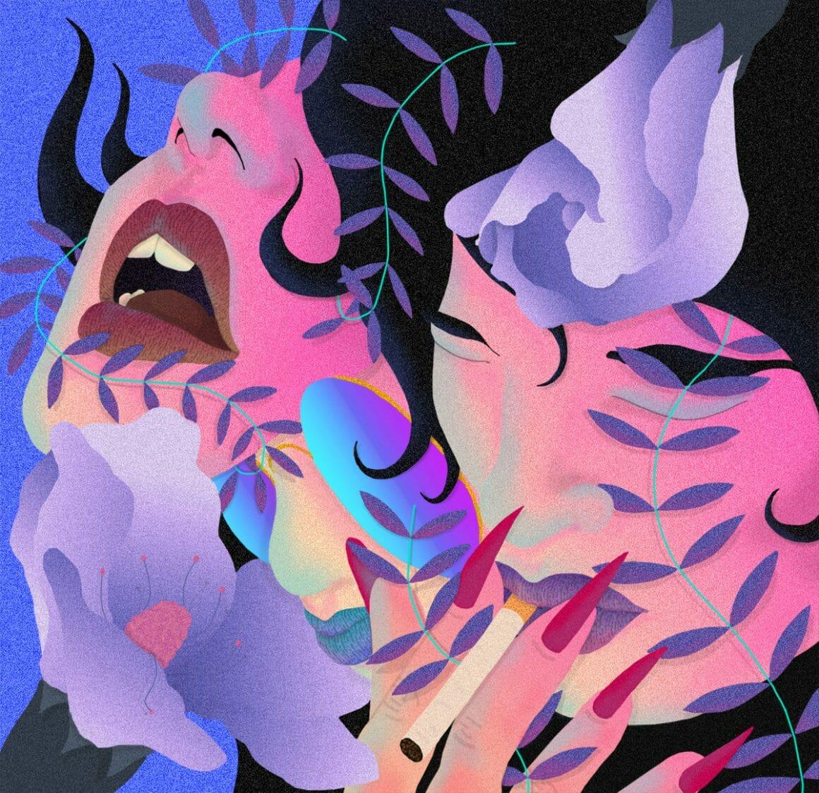 Oeuvre de l'artiste montrant deux femmes dont une semblant crier et l'autre en train de fumer