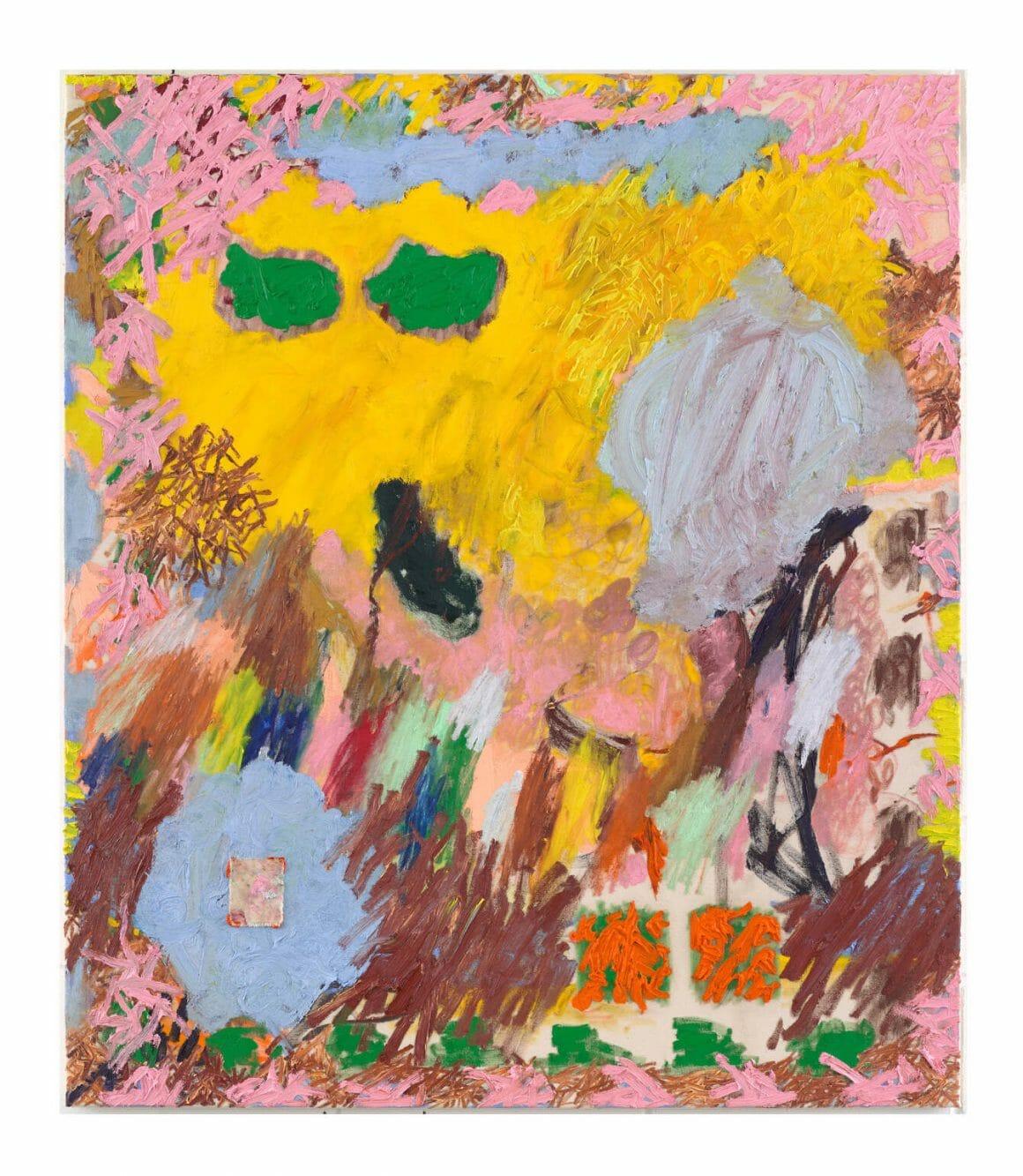 Daisy Parris Abstract tache jaune et ronds verts
