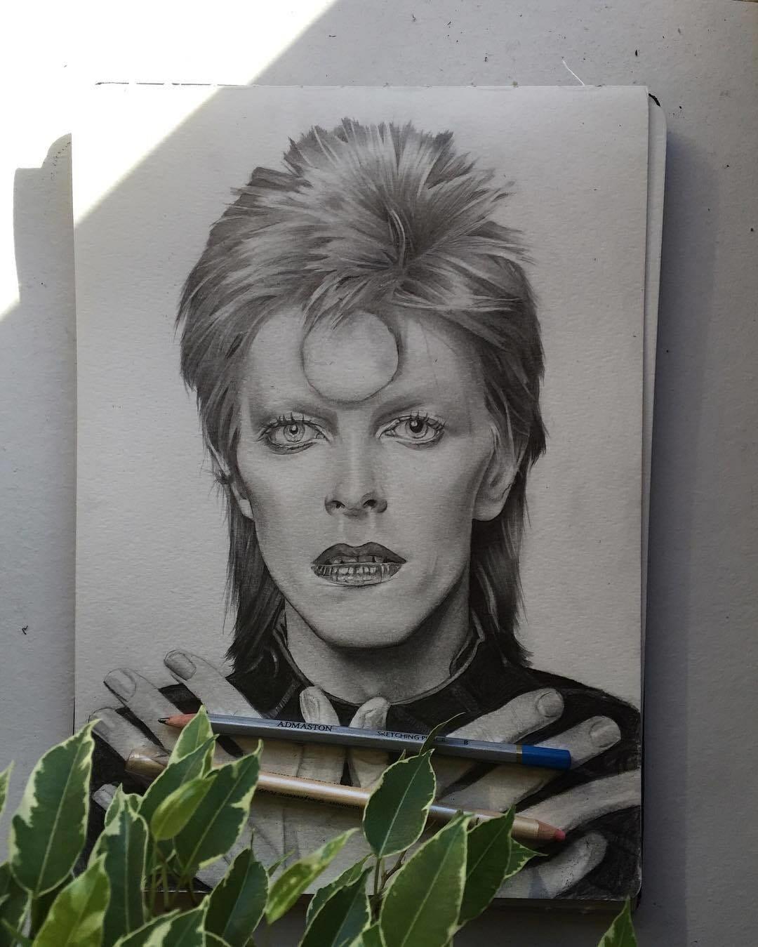 Dessin au crayon représentant David Bowie