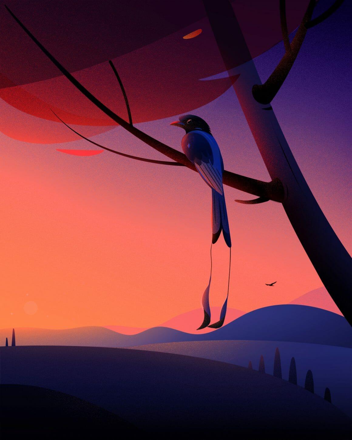 Illustration d'un oiseau dans un arbre par Febin Raj