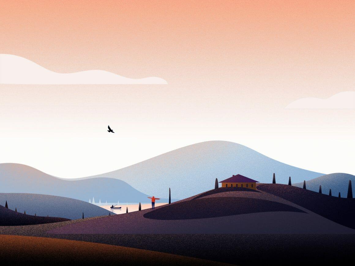 Illustration abstraite de collines
