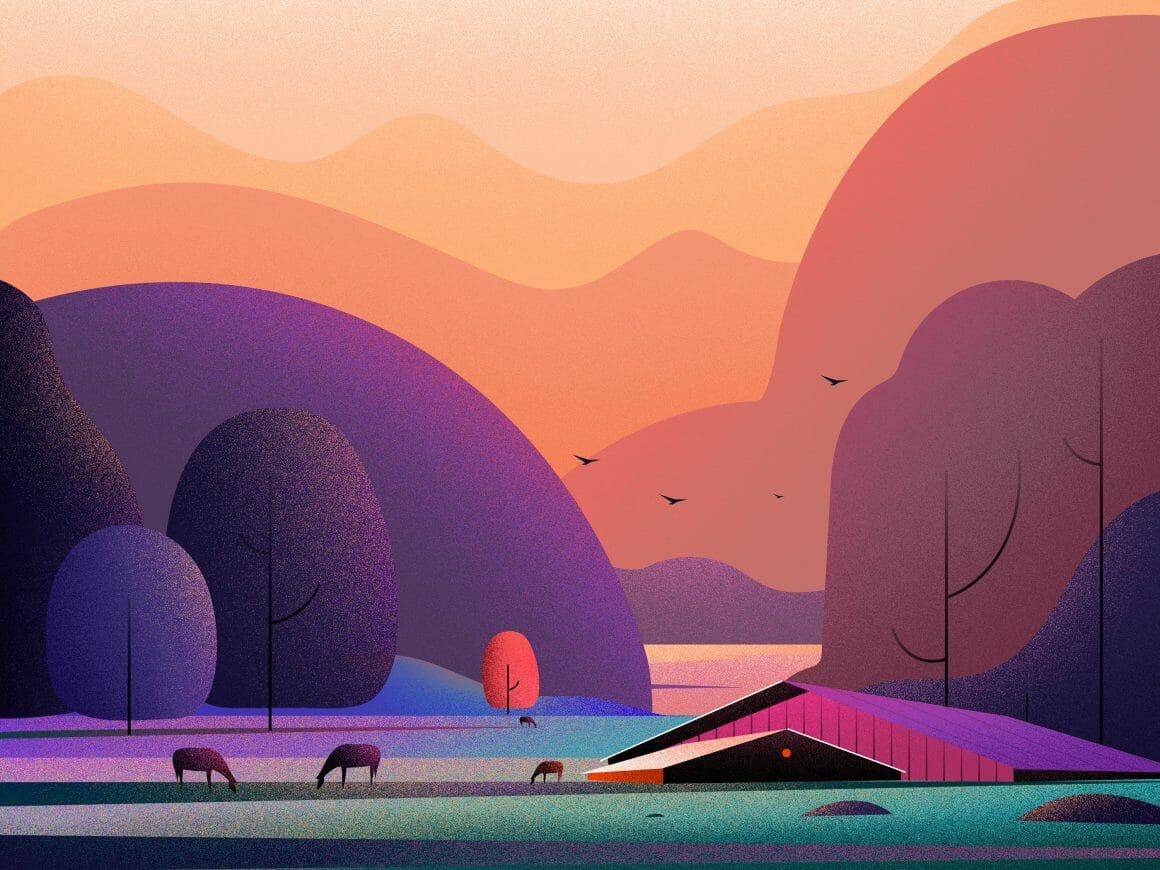 Illustration d'un paysage de ferme