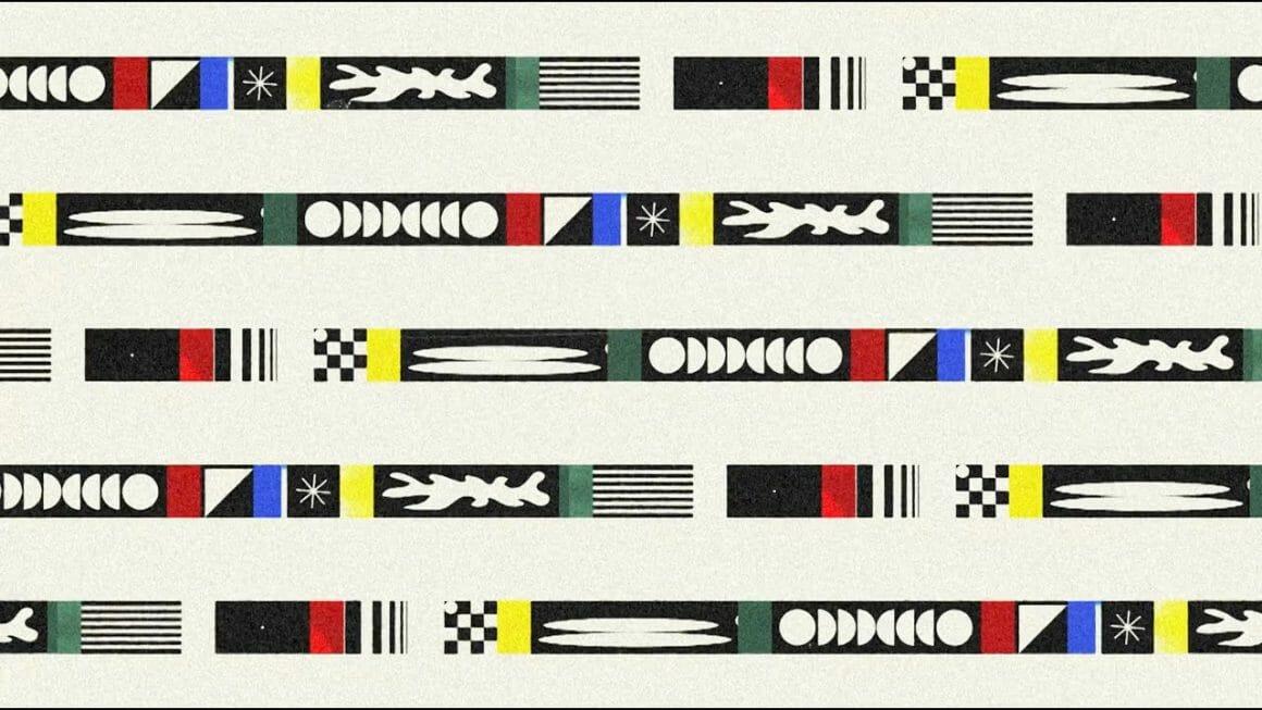 Illustration pour Hailstorm avec des bandes noires et colorées, incrustées de formes géométriques.