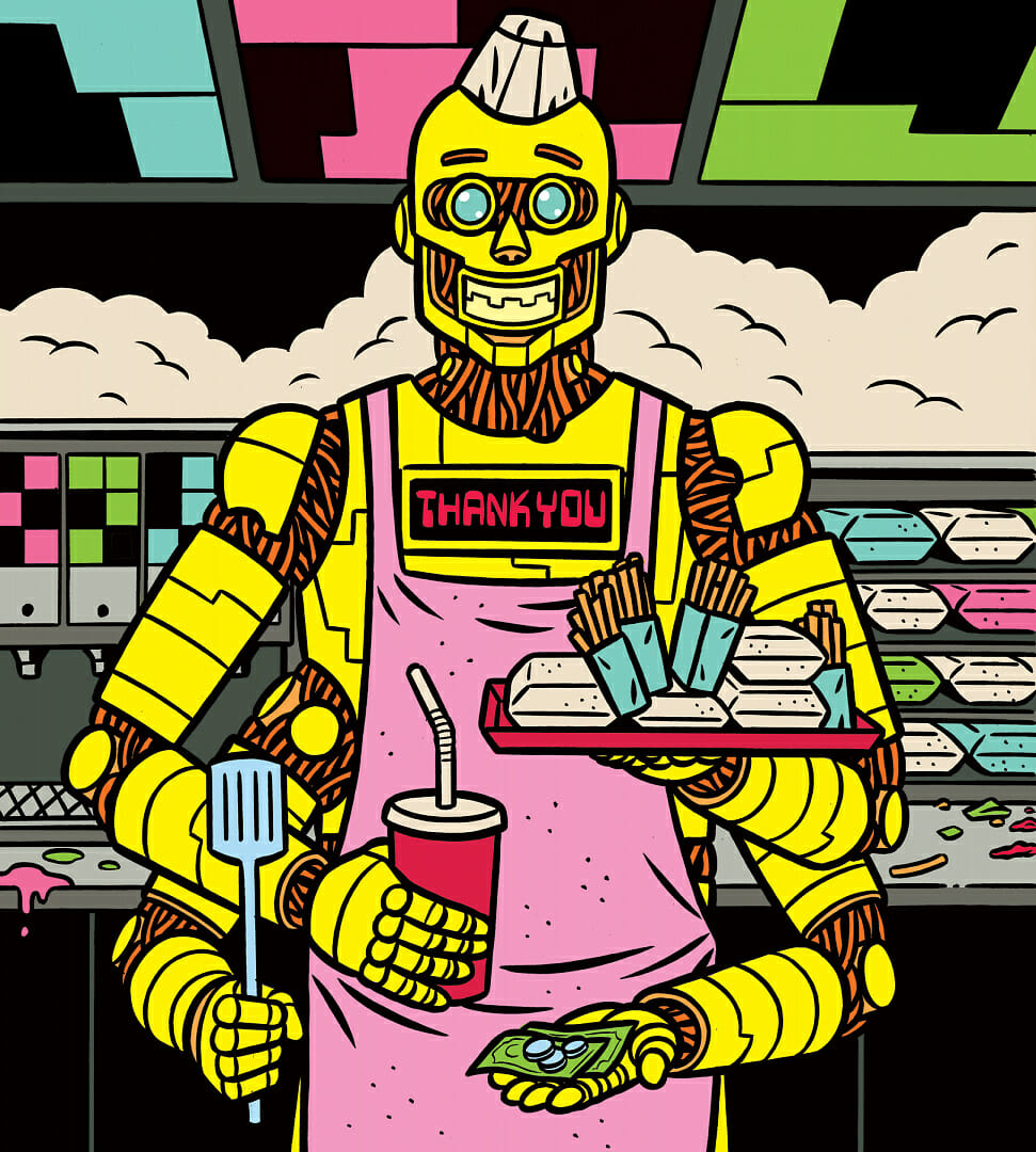 Illustration d'un robot travaillant dans un fast-food