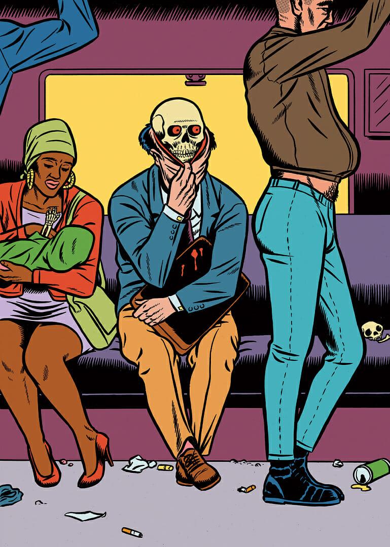 Illustration de personnes dans le métro.