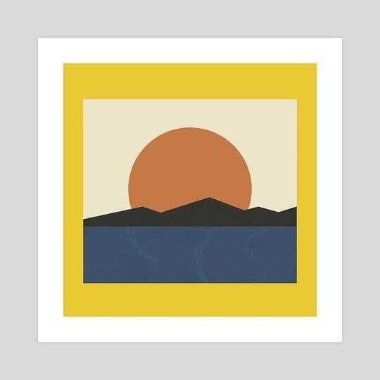 Illustration de formes géométriques qui forment un paysage de mer et de montagne avec un soleil.