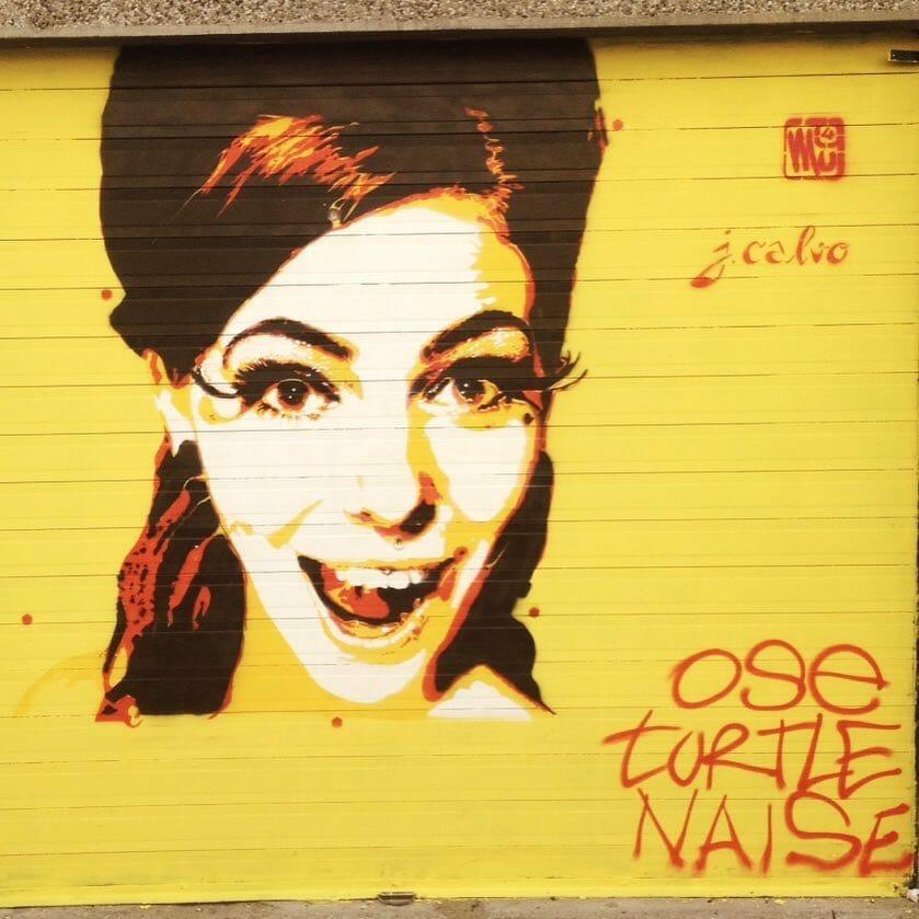 Fresque d'une femme souriant. street art fest