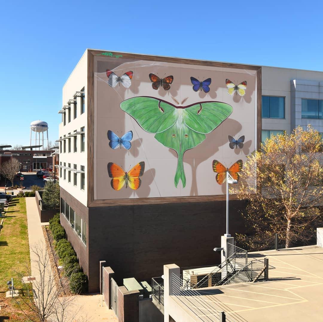 Photographie d'une peinture murale avec des papillons.