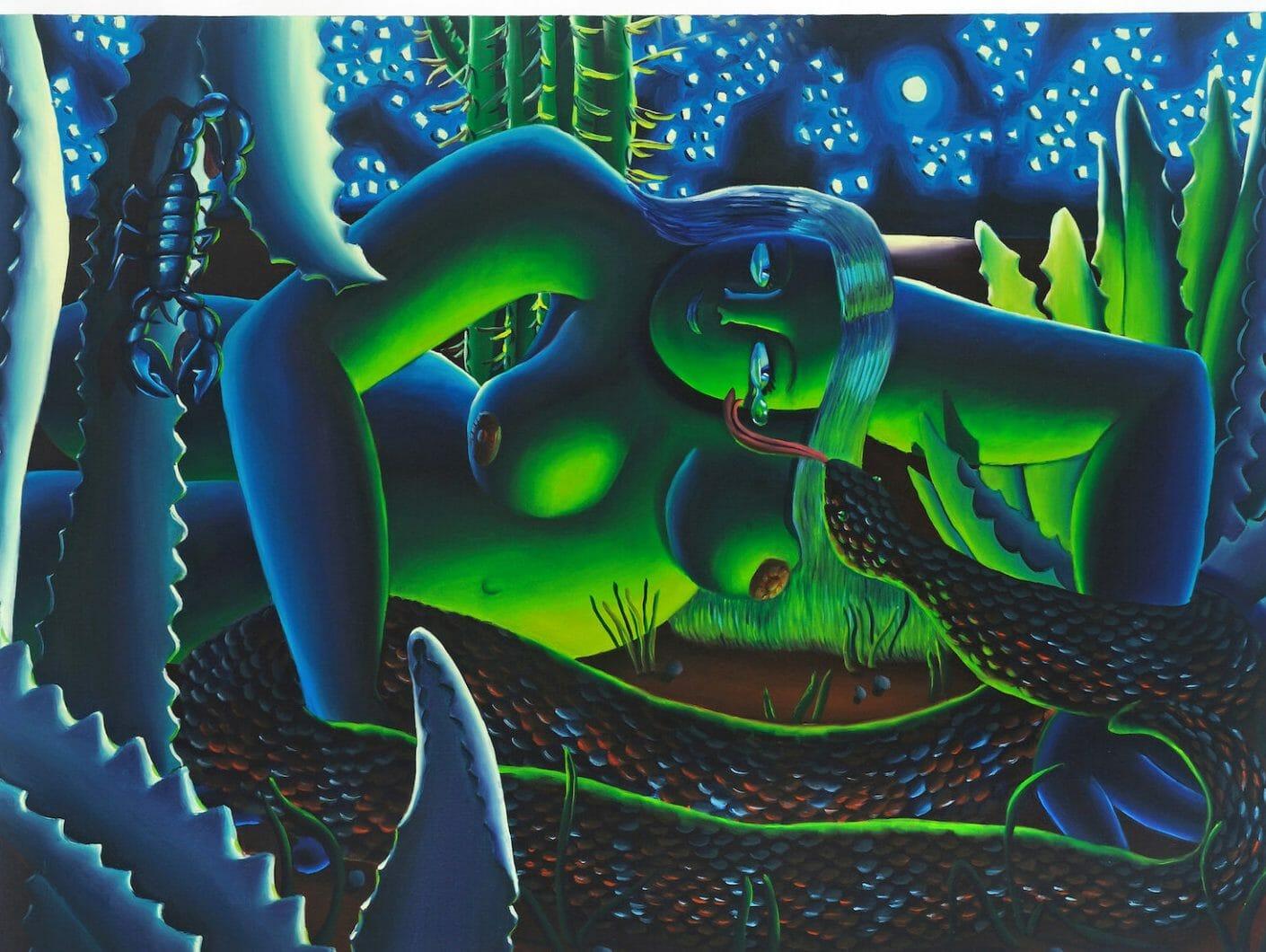 Femme aux couleurs vibrantes avec un serpent peint par l'artiste