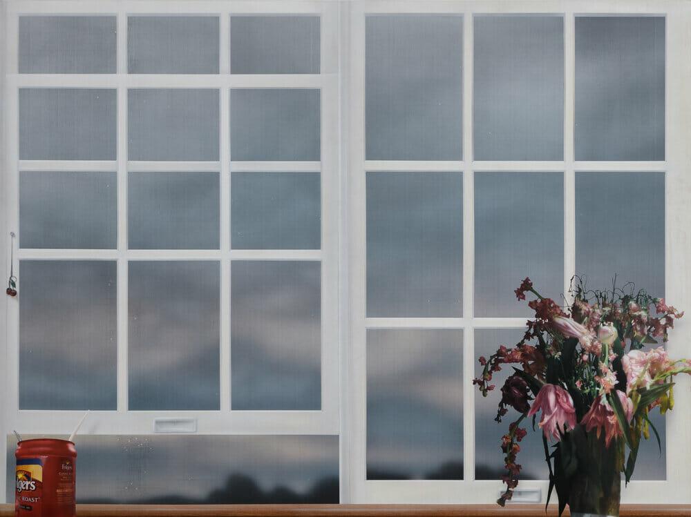 Peinture d'une fenêtre avec des objets devant.