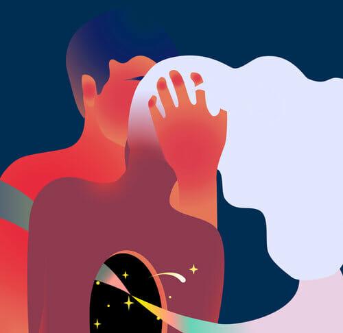 Illustration d'un homme et d'une femme s'embrassant