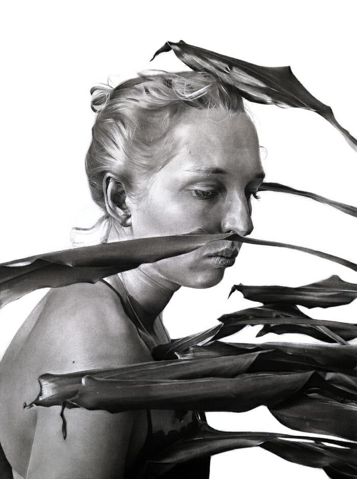 Oeuvre faite au charbon par l'artiste