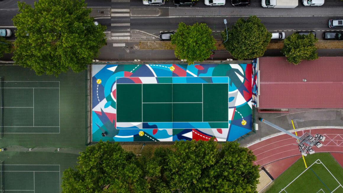 Photographie terrain de tennis à Clichy.