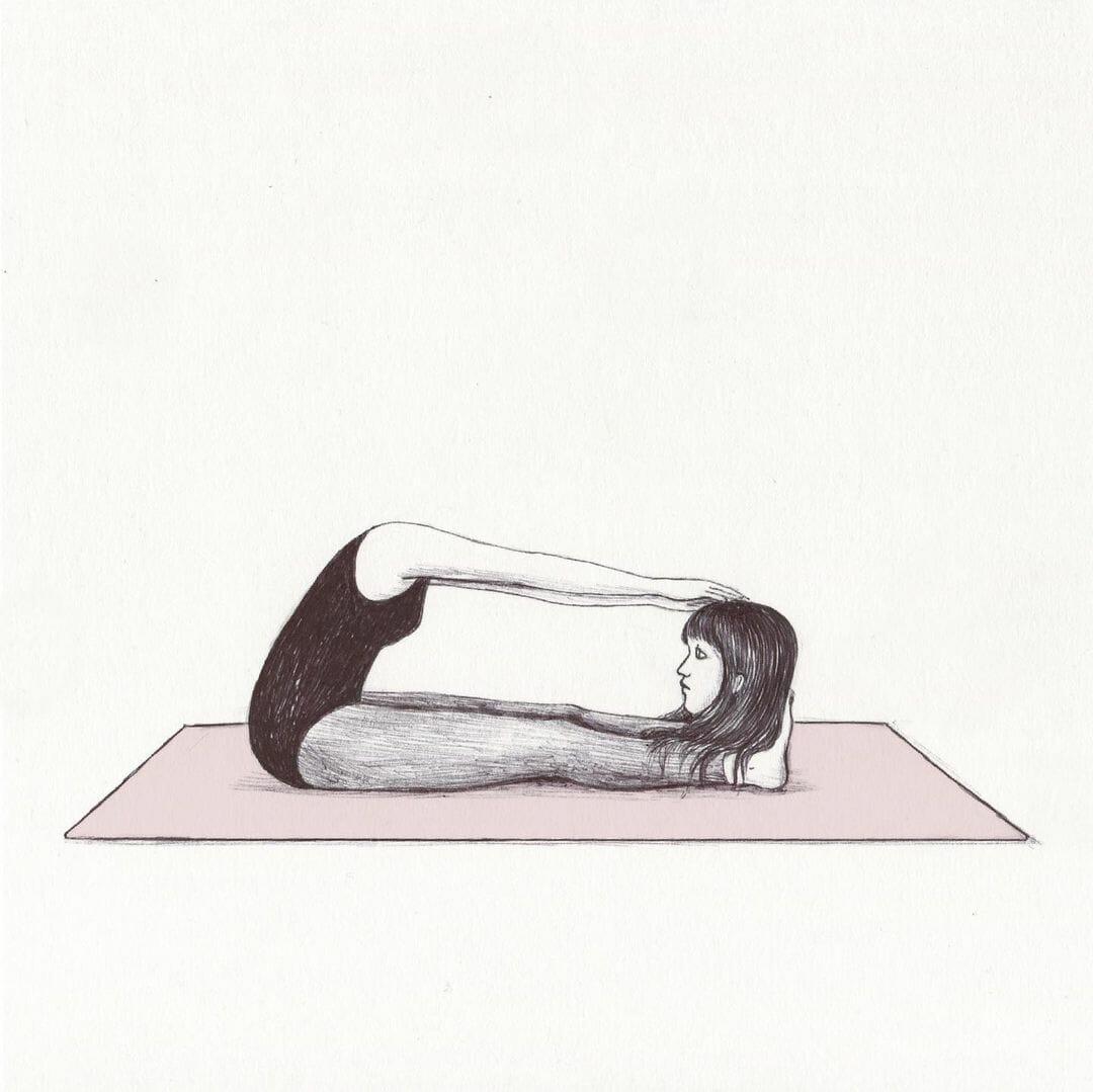 Illustration absurde d'une jeune fille faisant de la gym.