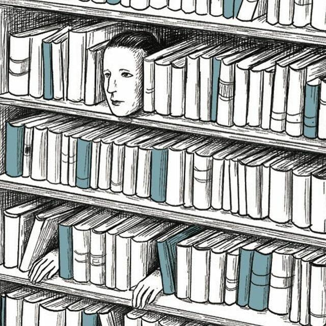 Illustration absurde d'une bibliothèque avec un visage dedans.