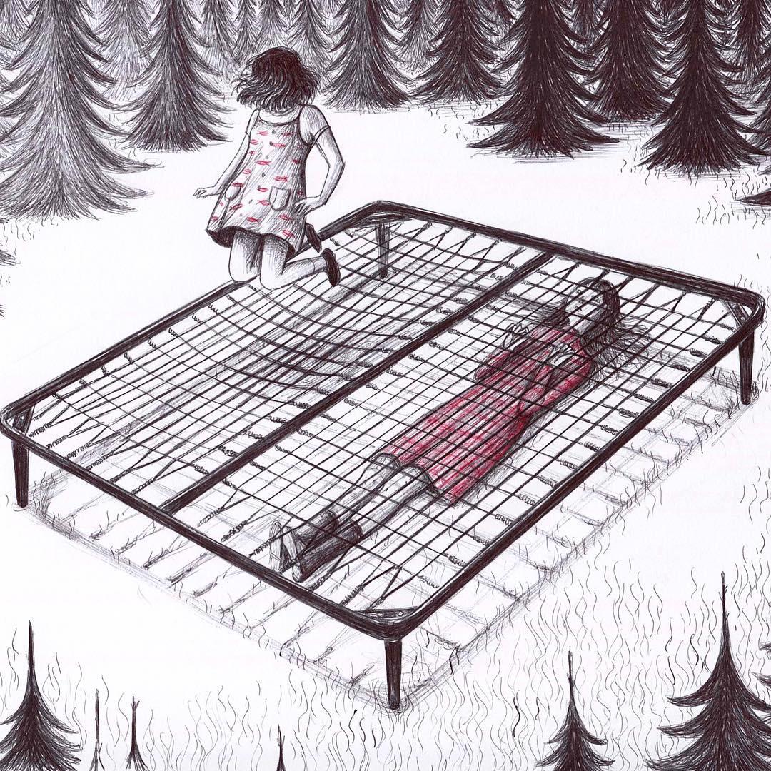 Illustration d'une fille sautant sur un lit.