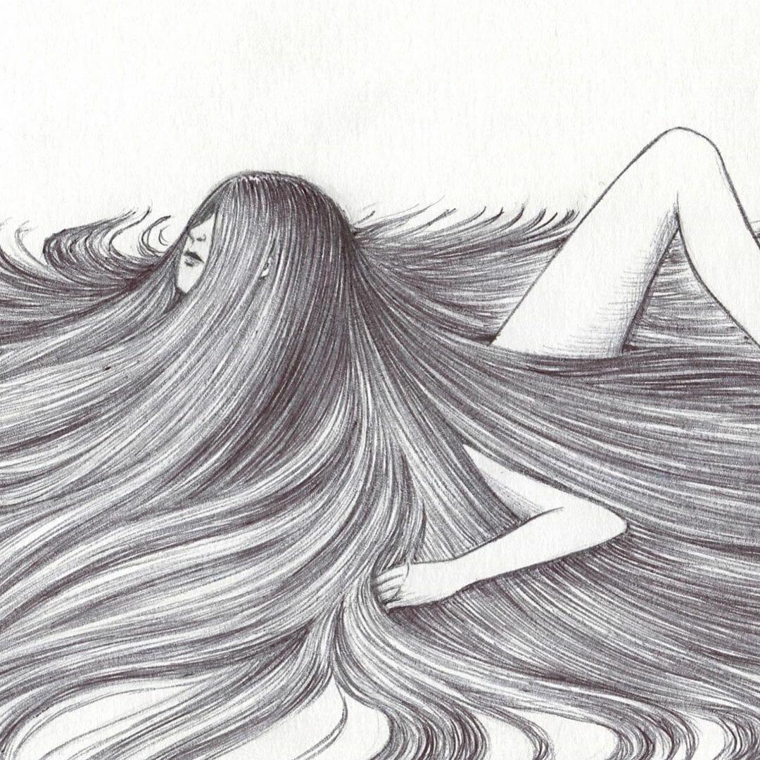 Illustration absurde d'une femme avec des cheveux longs qui recouvrent son corps.
