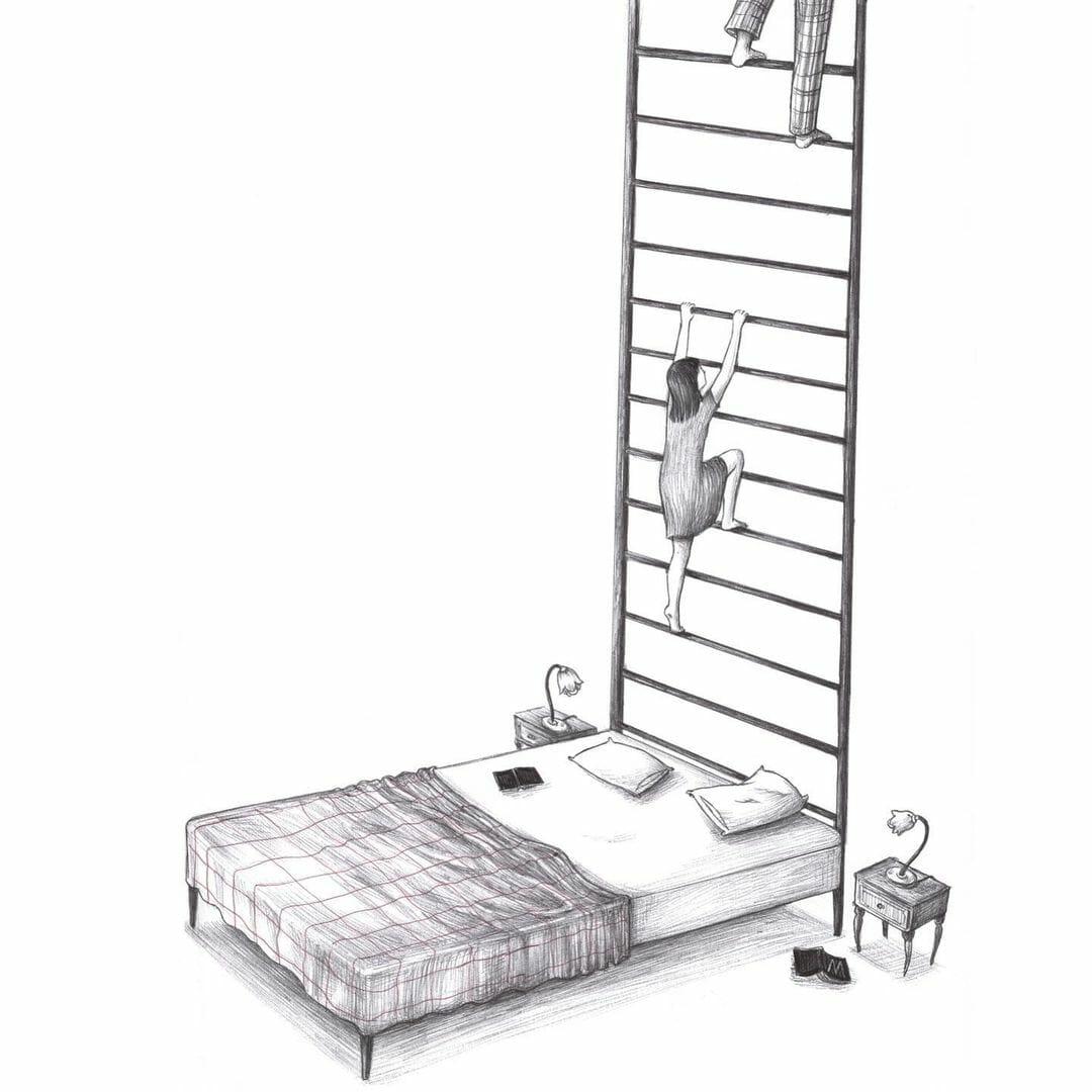 Illustration d'un lit dont le cadre est une échelle.  par Virginia Mori