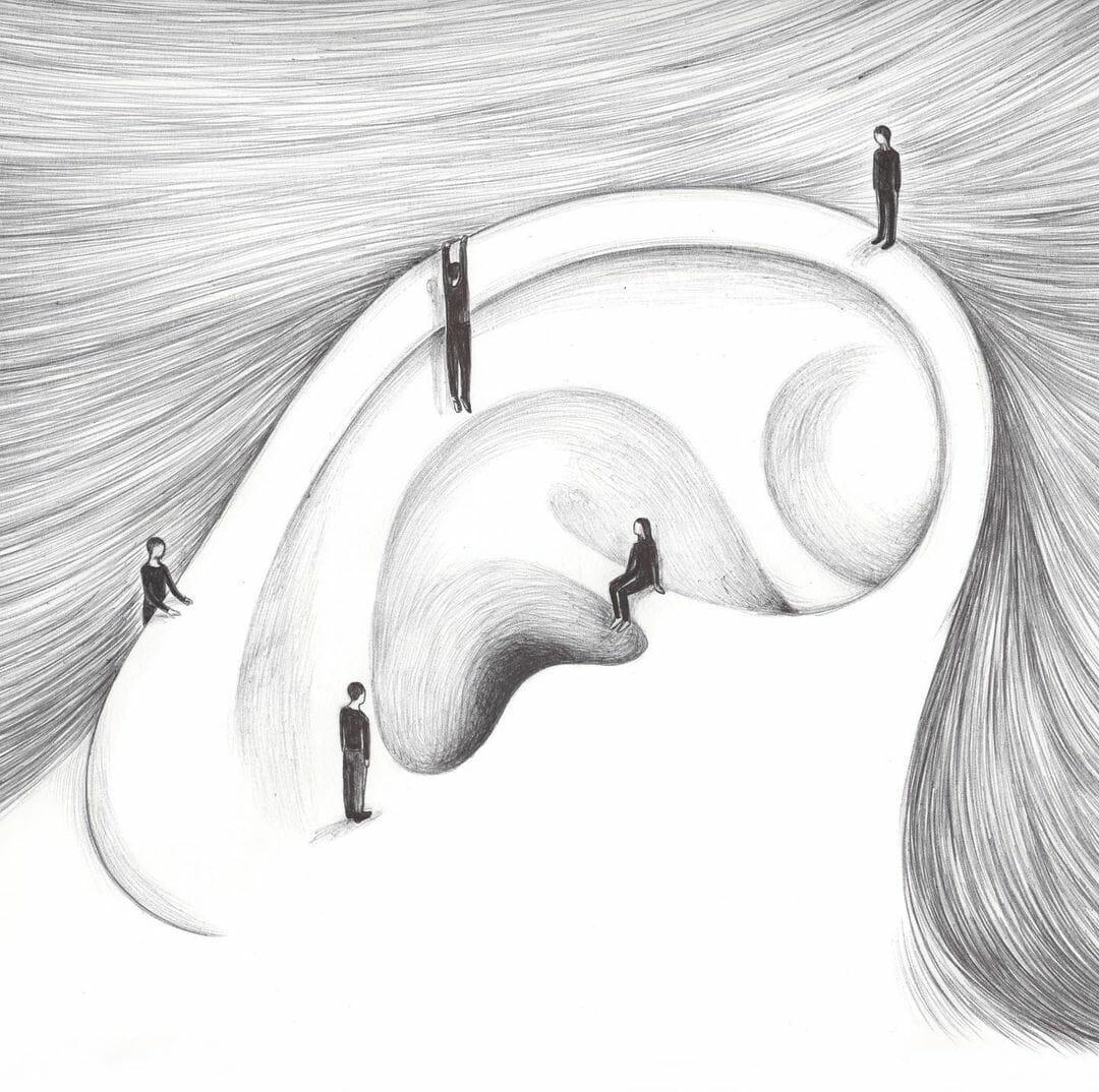 Illustration d'une oreille avec des petits bonhommes autour.