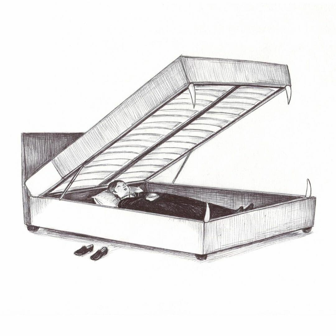 Illustration d'un homme dans un lit monstrueux.