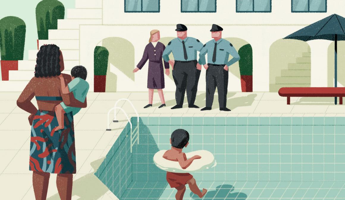Illustration d'une femme raciste avec ses enfants et la police.