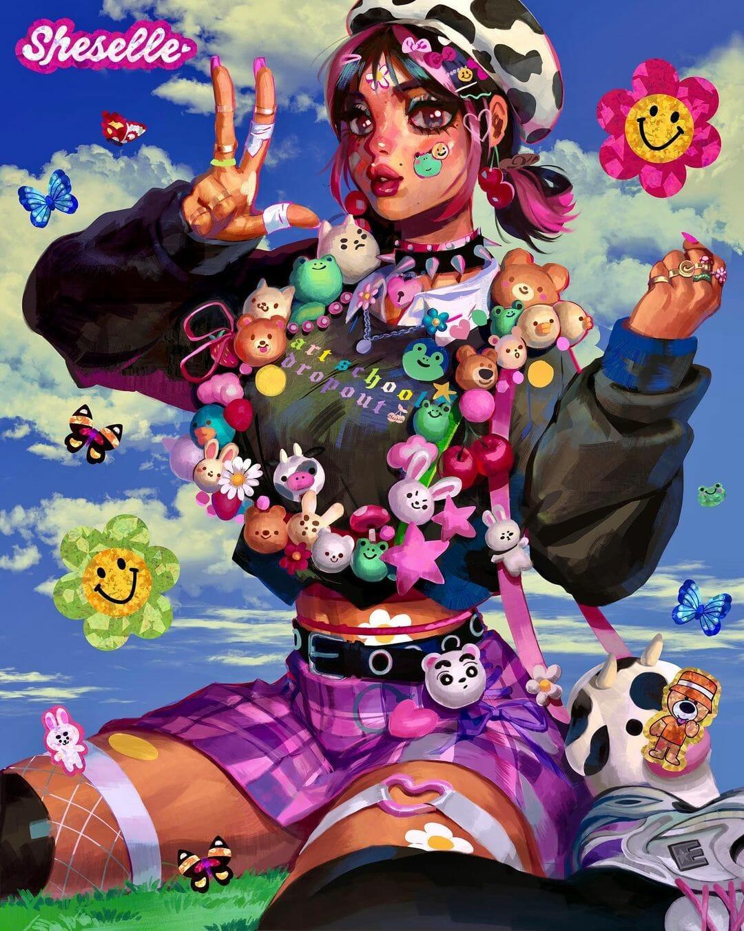 Illustration type manga d'une jeune fille accroupie.