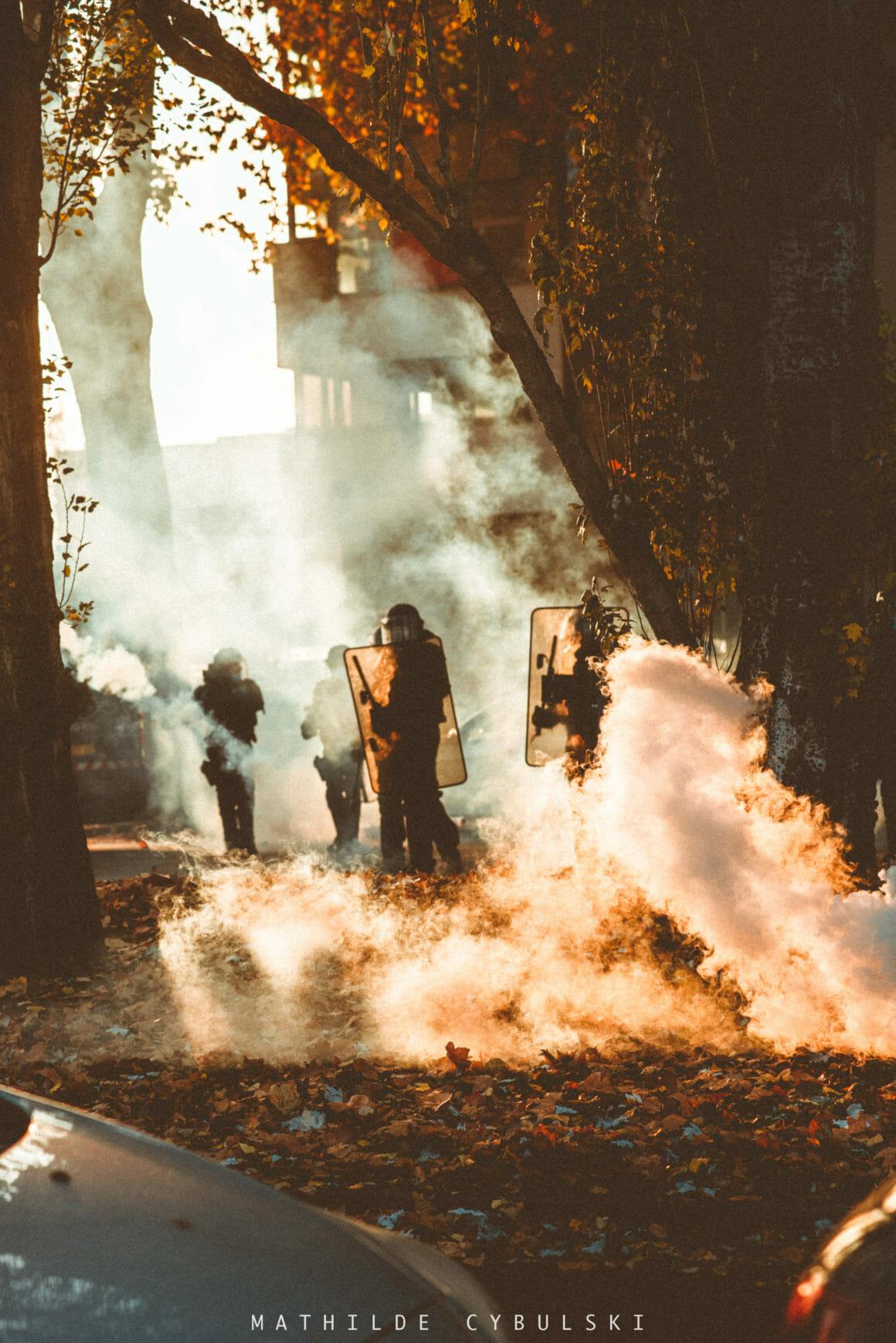 fumée manifestaton Strasbourg
